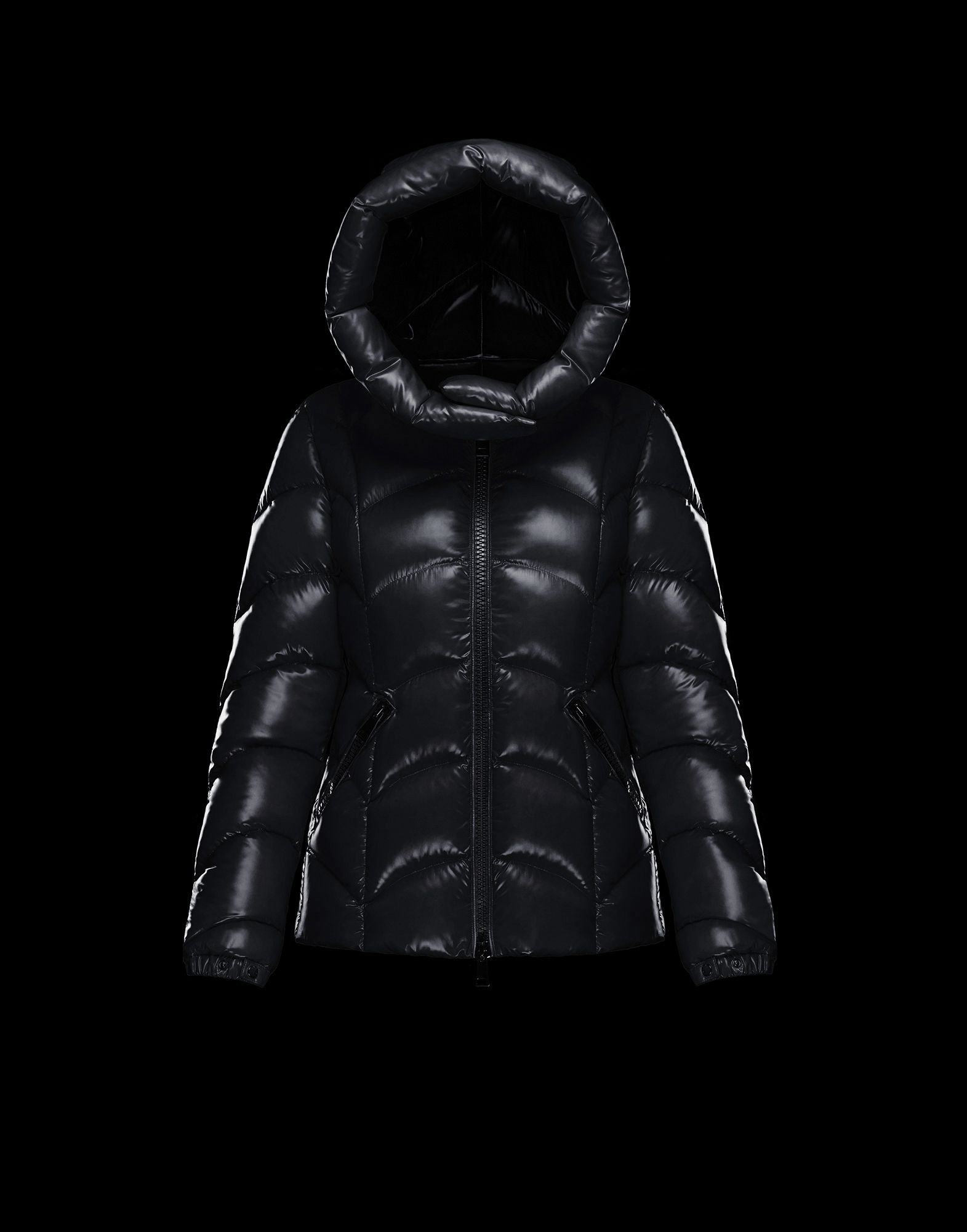 2018 Moncler Akebia Hooded Wave Puffer Jacket Black Womens