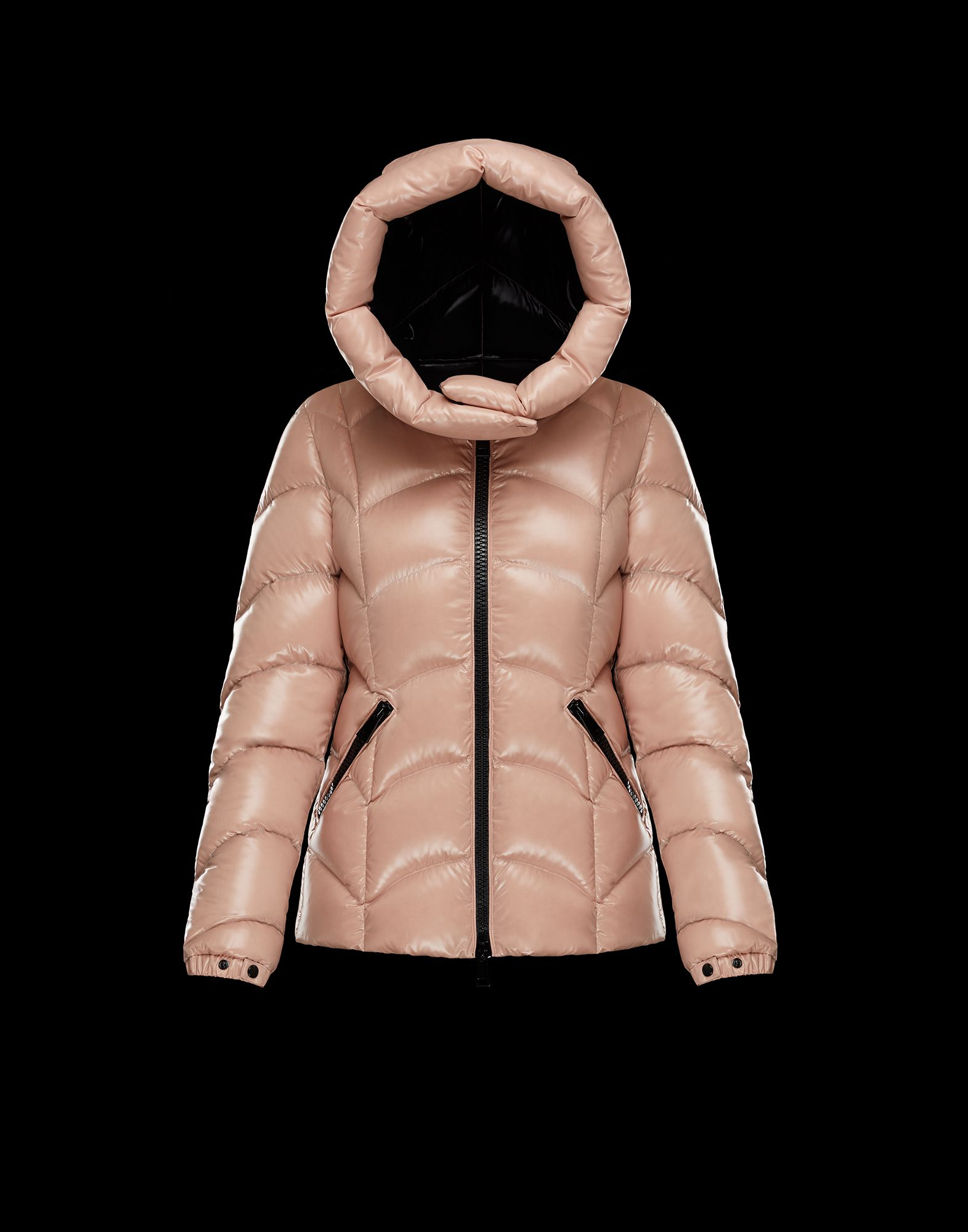 2018 Moncler Akebia Hooded Wave Puffer Jacket Pink Womens