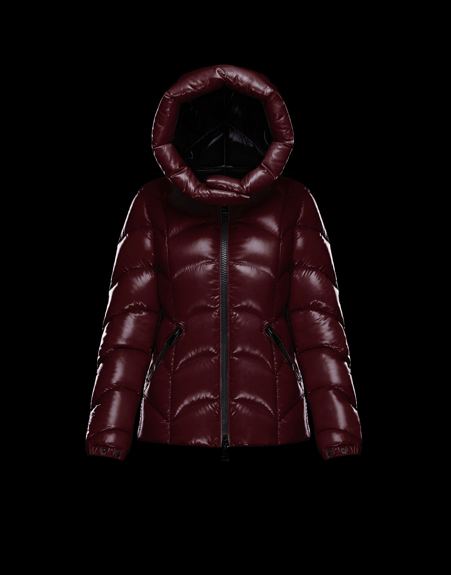 2018 Moncler Akebia Hooded Wave Puffer Jacket Red Womens
