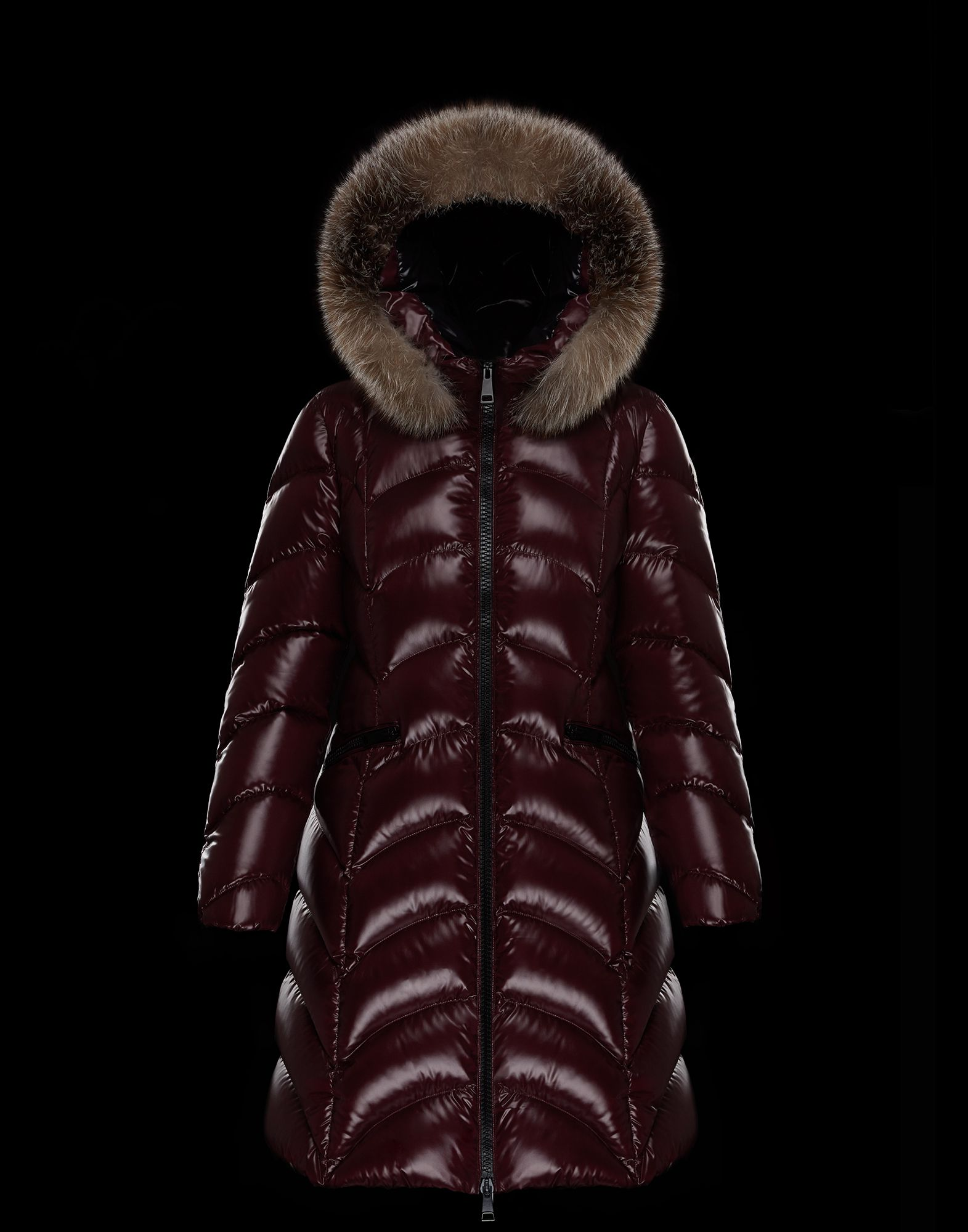 2018 Moncler Albizia Hooded Puffer Jacket Womens Maroon