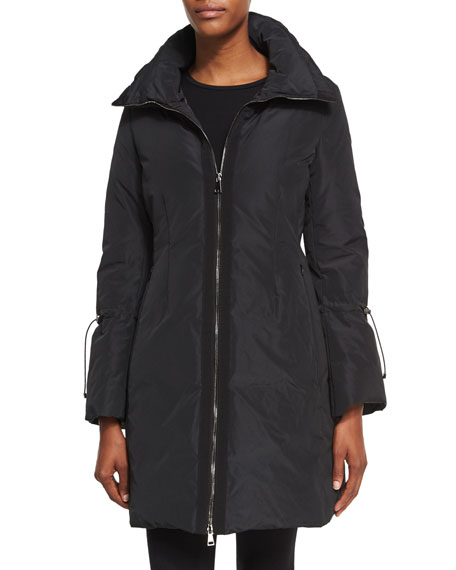 2018 Moncler Alnus Zip Front Mid Length Coat Black Womens