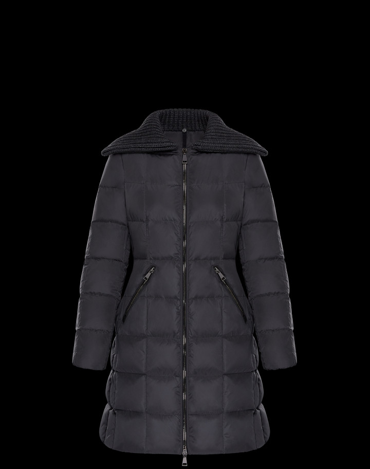 2018 Moncler Davida Zip Front Long Sleeve Quilted Puffer Coat Charcoal